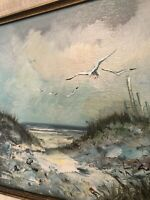 Vintage Oil Painting Coastal Landscape Seascape Seagull Beach Signed Framed