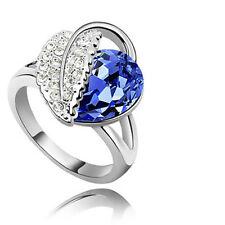 Royal Blue Crystal Leaf Ring Silver Plated Large Cocktail Q diameter 18 mm FR71D