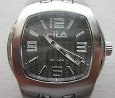 Fila Gents Quartz Watch (320-G) With Solid Links Bracelet, Date,WR-10ATM,C.Fiber