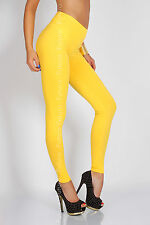 Full Length High Waist Leggings Genuine Cotton and Lycra All Sizes & Color LWP UK Size 16/18 Yellow