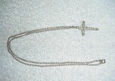 """SILVER TONE CHAIN WITH CRUCIFIX, CARVED LIKE FILAGREE, SEE PHOTOS.18"""" CHAIN & 1"""""""