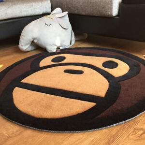 hot Bape A Bathing Ape Monkey Head Round Carpet Rug Home Floor Mat Door Mat