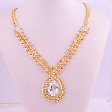Marquise 14k Yellow Gold Filled Raindrop White Topaz Gems Necklace Stunning