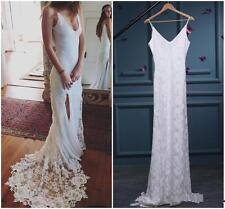 Vintage Lace Wedding Dresses Simple Boho V-Neck Bridal Gowns Country Wedding