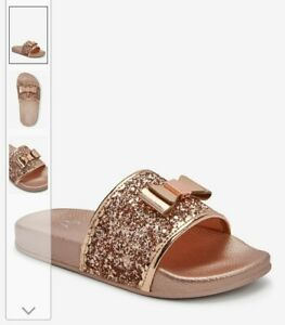 Ted Baker Rose Gold Glitter Bow Sliders Size 13
