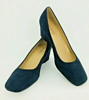 Talbots Shoes Sz 9.5 Navy Blue Suede Slip On Wedge Heel