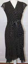 Etcetera Black and Tan Silk Polka Dot Wrap Dress Size 0