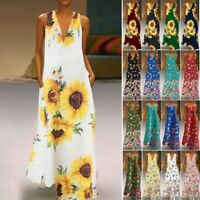 Women Sleeveless Boho Long Maxi Dress Summer Beach Party Sundress Plus S-5XL US