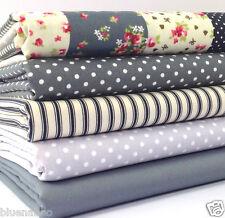 5 FAT QUARTER BUNDLE grey patchwork spots & stripes 100 % cotton fabric