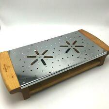 Villeroy & Boch Sterno Warming Tray Chafing Dish Wood Metal 15x7 Buffet Server