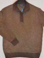 Polo Ralph Lauren Pullover Mock Neck Button Sweater Tussah Silk L NWT $198