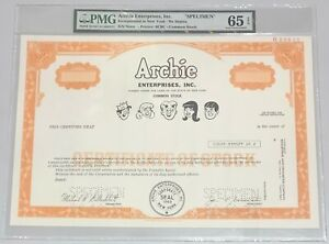 1978 ARCHIE ENTERPRISES, INC Stock Certificate SPECIMEN PMG 65 Gem Uncirculated