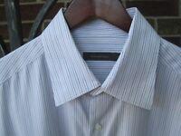Zegna Men's Dress Shirt, Brown/Blue Stripe, Size XL