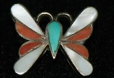 Zuni Indian style sterling silver butterfly ring turquoise coral mother-of-pearl