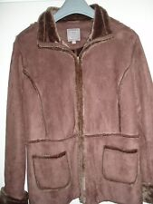 TU Brown Suede Look with Fir Trim Jacket, Size 18