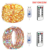 200LED USB Fairy String Light Party Home Xmas Wedding Lamps With Remote Control