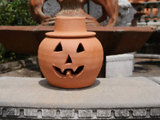 1 Gallon Terra Cotta Jack-o'-lantern Pumpkin with Hat from Craven Pottery