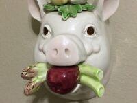 "FITZ & FLOYD FRENCH MARKET CERAMIC WALL POCKET PLANTER VASE PIG HEAD(8.5""X6.5"")"