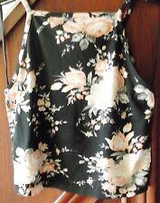 Miss Selfridge crop top black with peach floral pattern, size12 BNWT RRP £22.00