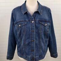 Style & Co Womens Denim Blue Jean Trucker Jacket Stretch Plus Size 20W