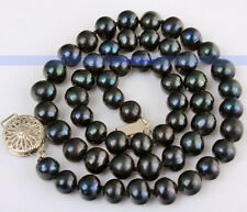 "Beautiful 17"" AAA 7-8MM Genuine Black Pearl Necklace 