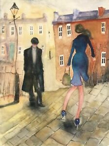LARGE WATERCOLOUR PAINTING Houses street scene