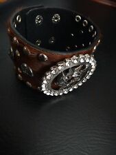Brown  Real Leather Silver Texas Western Star & Gun Crystals Adjustable Bracelet