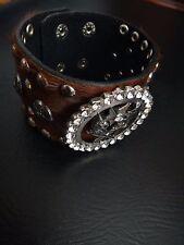 Brown  Real Leather Silver Texas Western Star & Gun Crystals Adjustable Bracelet