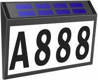 Solar Power Door Light House Number Plaque Set House Sign Address Light Outdoor