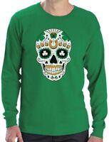 St. Patrick's Day Irish Sugar Skull Clover Tricolor Ireland Long Sleeve T-Shirt