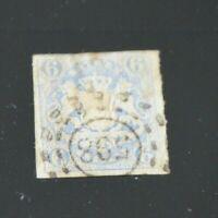 Bayern Wappen 6 Kreuzer blau Mi.-Nr. 16 mit oMR 598 Würzburg