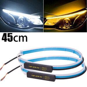 2x 45cm LED Blinker Dynamische Streifen Auto DRL Scheinwerfer Tagfahrlicht Lampe