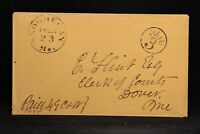 Maine: Skowhegan 1850s Stampless Cover, Black CDS, Circled PAID 3, Somerset Co