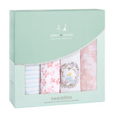 """Aden & Anais Classic Cotton Muslin 47"""" x 47"""" Baby Swaddles Birdsong 4 Pack NEW"""