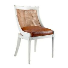 BUNGALOW 5 DISTRESSED WHITE WICKER CHAIR WITH BROWN LEATHER SEAT ***NIB***