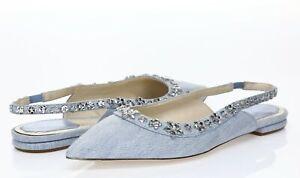 DIOR Womens Garland Blue Denim Crystals Slingback Sandals Sz 38 - 232743