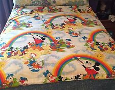 VINTAGE 70s DISNEY MICKEY MOUSE 5pc BEDDING SET TODDLER CRIB DUVET CURTAINS MORE