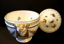 Antique Porcelain Footed Lidded Dresser Box Urn Ram Head Handle Gold Flowers
