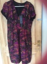 Marks Spencer Autograph size 14 Purple mix dress with silk, new with tags