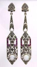Art Deco Orecchini chiusura a farfalla rubino OPALE & MARCASITE Argento 925