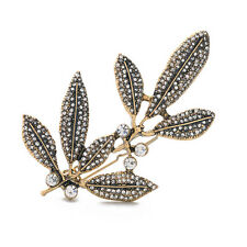Rhinestone Leaf Branch Hairpin Clip Headwear Vintage Gold Lovely Lady Jewelry