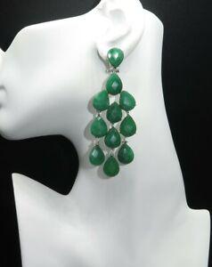 Handmade Natural Green Jade Earrings, Gemstone Dangle Earrings Pin