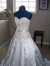 Bridal Gown: Sottero and Midgley- Size 8: White W/ sash, Beading-Ball Gown