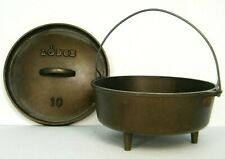 LODGE #10 CAST IRON CAMP STOVE DUTCH OVEN FOOTED CAMPiNG POT BAiL HANDLE & LiD