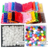 Pom Poms Pompoms Small 10mm 1cm Red Green Black White Pink Purple Blue Yellow