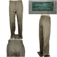 EDDIE BAUER Men's 36 x 34 Khaki Relaxed Fit Wrinkle & Stain Resistant Pants EUC