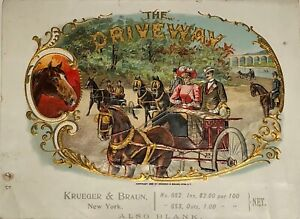 "ANTIQUE CIGAR BOX SAMPLE LABEL ""The Driveway', KRUEGER & BRAUN LITHO - Horses"