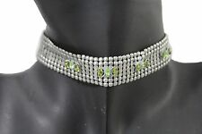Women Silver Mesh Metal Short Fashion Choker Necklace Green Butterfly Goth Style
