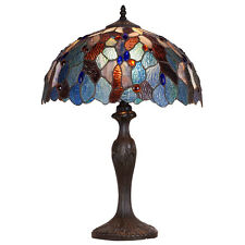 """Amber Blue 23""""H Lamp Stained Glass Art Light Lamps NEW"""