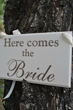 Here Comes The Bride Wedding Sign, Hand Painted & Laser Etched Wedding Decor